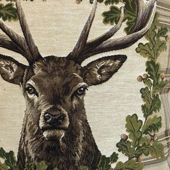 """Deer beige tartan """"Belgium Tapestry cushion"""""""