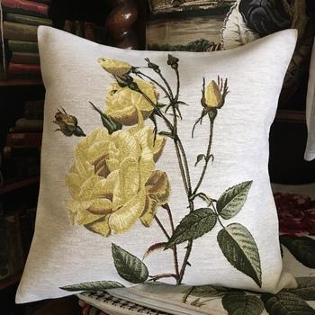 """Yellow roses II "" Belgium Tapestry cushion"