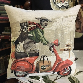 """""""Dogs on vespa"""" Belgium Tapestry cushion"""