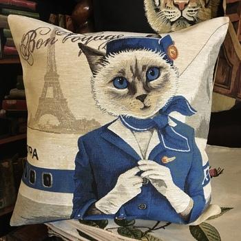 """Cat airline """"Belgium Tapestry cushion"""""""