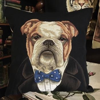 "Bulldog zw ""Belgische tapisserie kussen"""