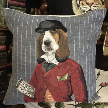 """""""Beagle with hat""""  Belgium Tapestry cushion"""