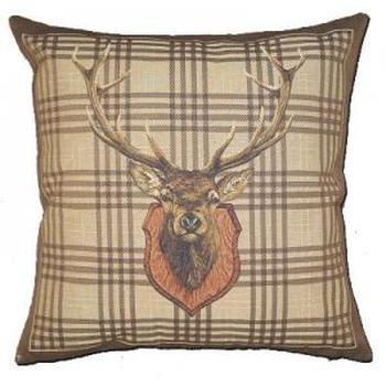 """Stagehead brown"" Belgian Tapestry cushion"