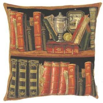 """""""Boeken rood I"""" Belgische tapisserie kussen"""