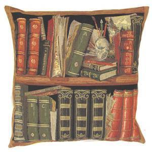 """Books red II"" Belgian Tapestry cushion"