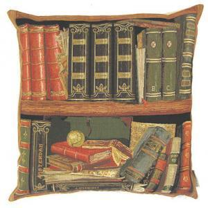 """Books red III"" Belgian Tapestry cushion"