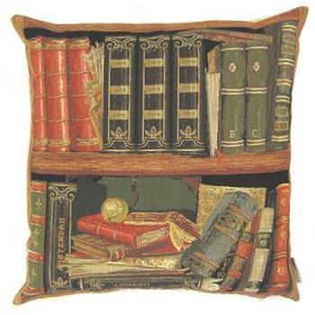 """Books red III"" Belgian Tapestry cushion"