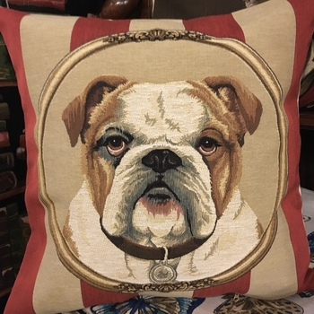 """Bulldog"" Belgian Tapestry cushion"