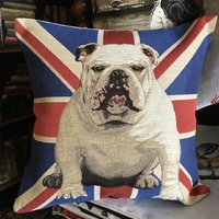 """Bulldog drapeau anglais"" Tapisserie Belge coussin"