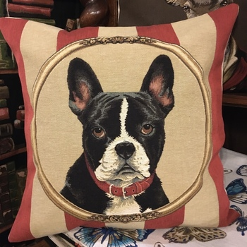 """Boston terrier"" Tapisserie Belge coussin"