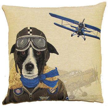 """""""Dog pilot bleu"""" Tapisserie Belge coussin (taille medium)"""