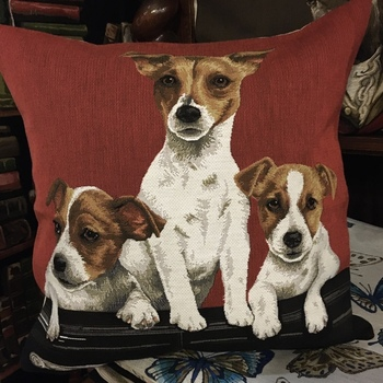 """Jack Russels red"" Belgium Tapestry cushion"