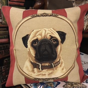 """Pug"" Belgium Tapestry cushion"