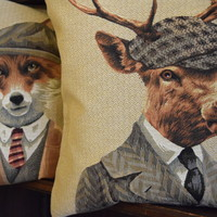 Belgium tapestry pillow cushion cover - Huis de zomer - Bruges Deer pillow cushion cover