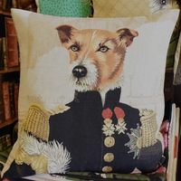 Belgium tapestry cushion pillow cover _ Huis de zomer _ Bruges - Jack Russel dressed up pillow cushion cover